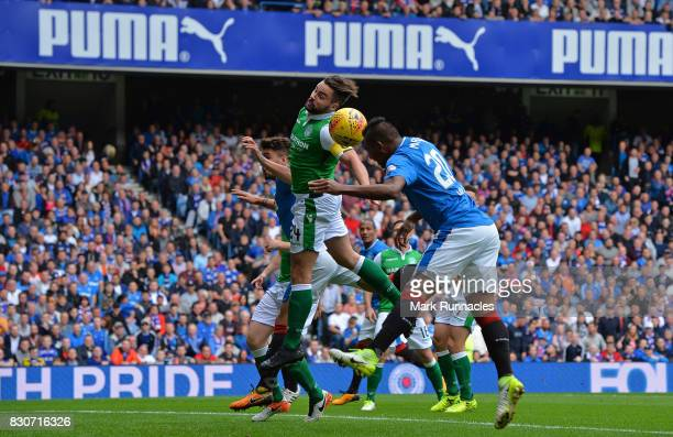 Alfredo Morelos of Rangers scores the opening goal of the game during the Ladbrokes Scottish Premiership match between Rangers and Hibernian at Ibrox...