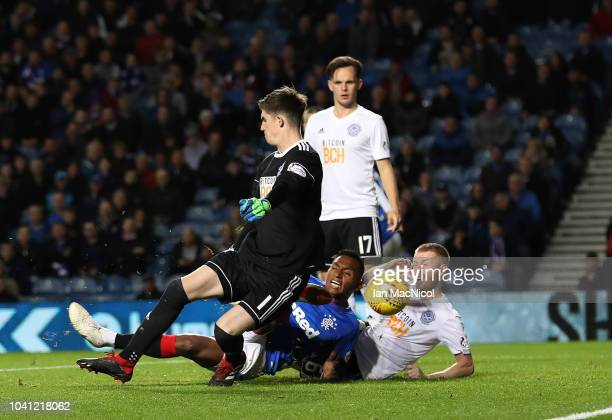 Alfredo Morelos of Rangers scores the third goal of the game during the Betfred Scottish League Cup Quarter Final match between Rangers and Ayr...