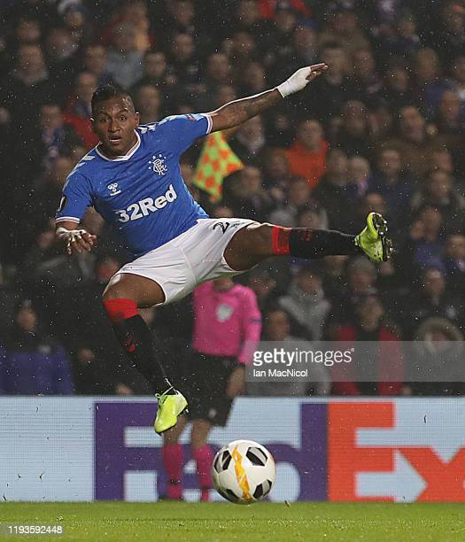 Alfredo Morelos of Rangers shoots at goal during the UEFA Europa League group G match between Rangers FC and BSC Young Boys at Ibrox Stadium on...