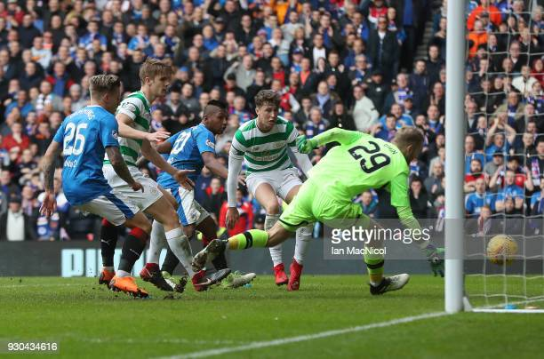 Alfredo Morelos of Rangers shoots at goal only to see it hit the post during the Rangers v Celtic Ladbrokes Scottish Premiership match at Ibrox...