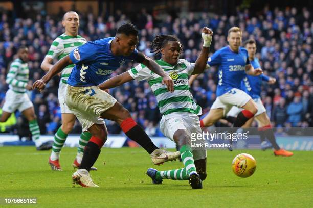 Alfredo Morelos of Rangers shoots on goal during the Ladbrokes Scottish Premier League between Celtic and at Ibrox Stadium on December 29 2018 in...
