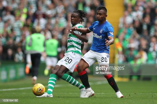 Alfredo Morelos of Rangers vie with Dedryck Boyata of Celtic during the Scottish Premier League between Celtic and Rangers at Celtic Park Stadium on...