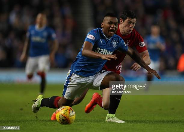 Alfredo Morelos of Rangers vies with Scott McKenna of Aberdeen during the Ladbrokes Scottish Premiership match between Rangers and Aberdeen at Ibrox...