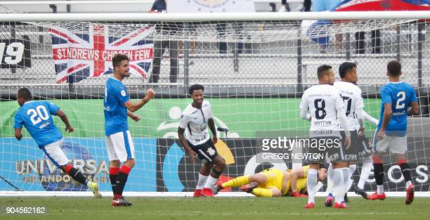 Alfredo Morelos of Scottish club Rangers FC beats goal keeper Cassio of Brazilian club Corinthians for a second half goal during their Florida Cup...