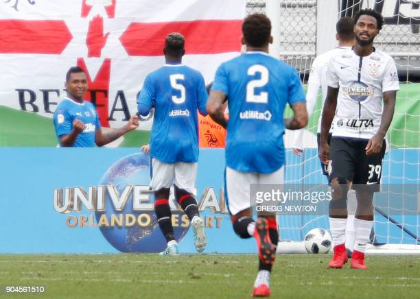 Alfredo Morelos of Scottish club Rangers FC waits to celebrate his goal with teammates during the second half of their game against Brazilian club...