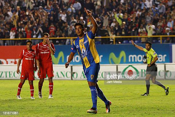 Alfredo Moreno of San Luis celebrates a scoed goal during a match as part of the Apertura 2011 at Alfonso Latras Stadium on November 5, 2011 in San...