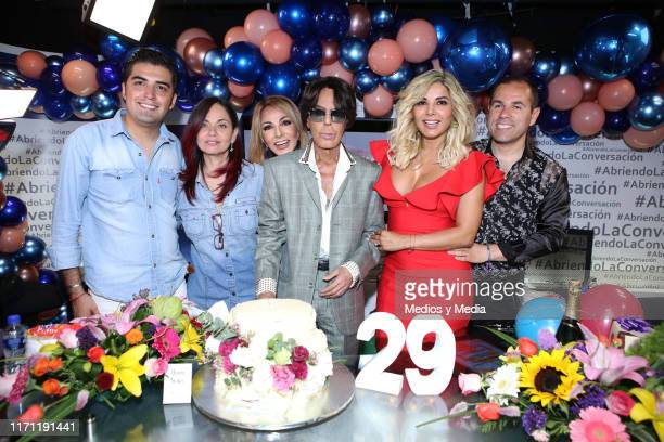 Alfredo Palacios Olivia Collins and Aleida Nunez poses for photos during the anniversary of 'Salud y Belleza' Show on August 30 2019 in Mexico City...