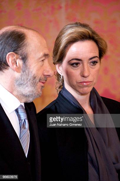 Alfredo Perez Rubalcaba and Carme Chacon attend 'Pascua Militar' at Royal Palace> on January 6 2010 in Madrid Spain