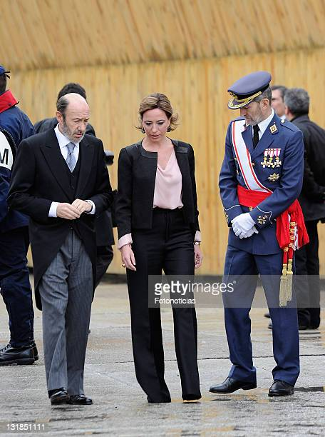 Alfredo Perez Rubalcaba and Carme Chacon attend the new year Pascua Militar ceremony at The Royal Palace on January 6, 2011 in Madrid, Spain.