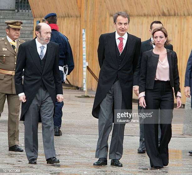 Alfredo Perez Rubalcaba Jose Luis Rodriguez Zapatero and Carme Chacon attend the Pascua Military ceremony at Royal Palace on January 6 2011 in Madrid...