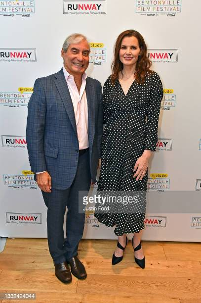 Alfredo Rivera and Geena Davis attend the 2021 Bentonville Film Festival opening night red carpet and filmmaker reception on August 04, 2021 in...