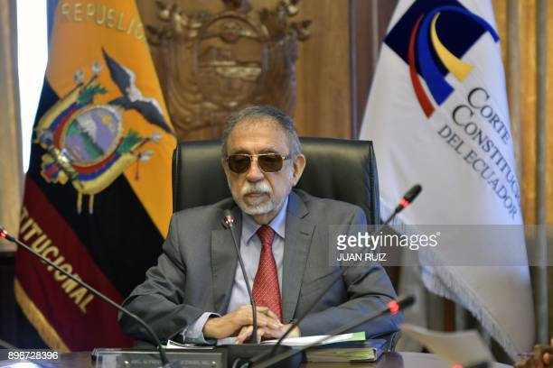 Alfredo Ruiz the president of the Constitutional Court led the plenary session discussing whether or not to give the goahead for the impeachment of...
