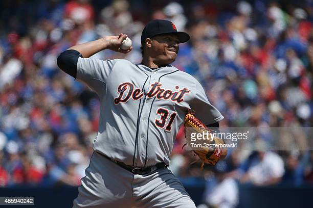 Alfredo Simon of the Detroit Tigers delivers a pitch in the first inning during MLB game action against the Toronto Blue Jays on August 30 2015 at...