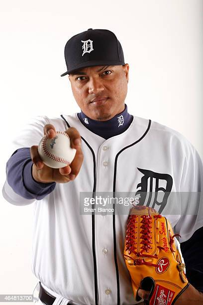 Alfredo Simon of the Detroit Tigers poses for a photo during the Tigers' photo day on February 28 2015 at Joker Marchant Stadium in Lakeland Florida