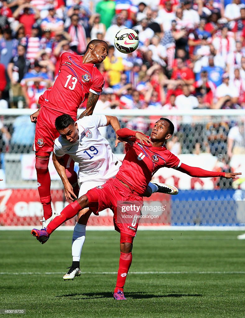 Alfredo Stephens #13 and Marcos Sanchez #8 of Panama win the ball against Miguel Ibarra #19 of the USA in the first half of their international men's friendly match at StubHub Center on February 8, 2015 in Los Angeles, California. The play resulted in a goal by Dempsey. The USA defeated Panama 2-0.