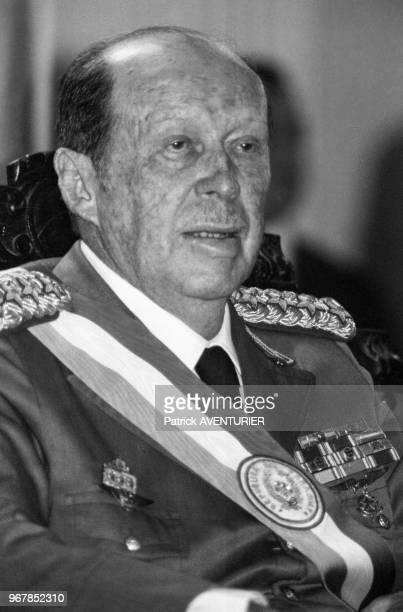 Alfredo Stroessner président paraguayen lors d'une cérémonie le 15 mai 1986 à Asuncion Paraguay