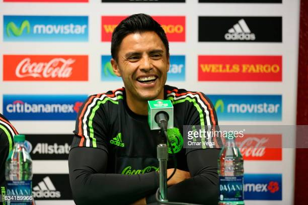 Alfredo Talavera goalkeeper of Mexico speaks during a Mexico Press Conference at Peter Johann Memorial Field on February 07 2017 in Las Vegas United...