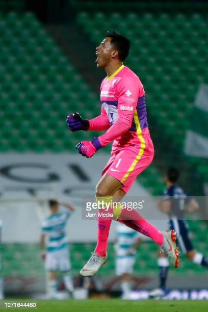 Alfredo Talavera, goalkeeper of Pumas celebrates the second goal of his team during the 9th round match between Santos Laguna and Pumas UNAM as part...