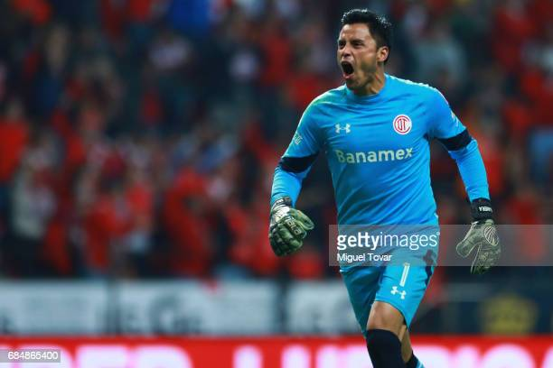 Alfredo Talavera goalkeeper of Toluca celebrate after his team scored during the semifinals first leg match between Toluca and Chivas as part of the...