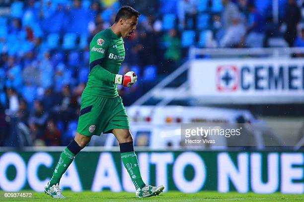 Alfredo Talavera goalkeeper of Toluca celebrates after Pablo Barrientos of Toluca scored the first goal of his team during the 10th round match...