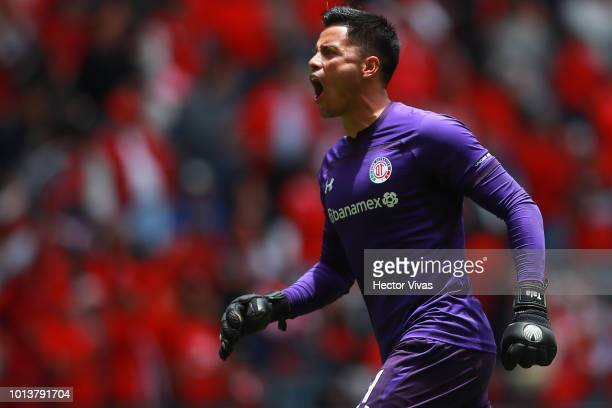 Alfredo Talavera goalkeeper of Toluca celebrates after the second goal of his team during the third round match between Toluca and Chivas as part of...