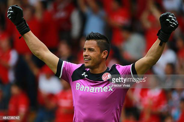Alfredo Talavera goalkeeper of Toluca celebrates after the third goal of his team during a 5th round match between Toluca and Chivas as part of the...