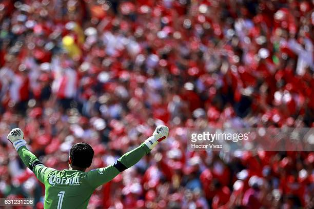 Alfredo Talavera goalkeeper of Toluca celebrates after the third goal of his team during the 1st round match between Toluca and Atlas as part of the...