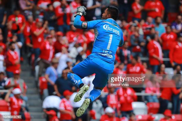 Alfredo Talavera goalkeeper of Toluca celebrates the second goal of his team during the 8th round match between Toluca and Santos Laguna as part of...