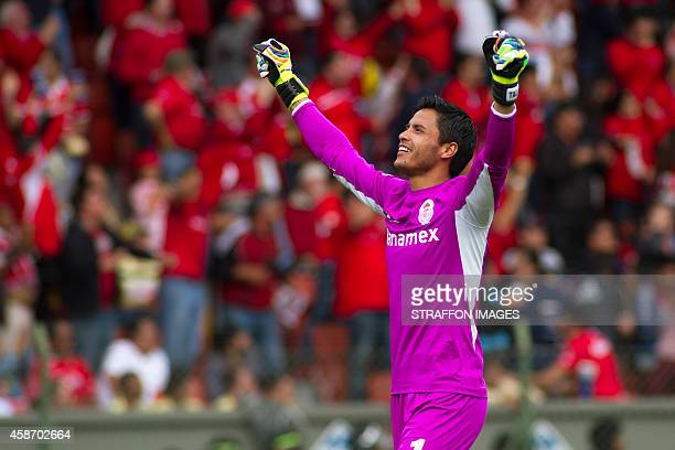 Alfredo Talavera goalkeeper of Toluca celebrates the second goal of his team during a match between Toluca and America as part of 16th round Apertura...