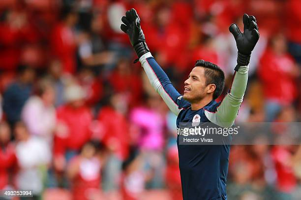 Alfredo Talavera goalkeeper of Toluca celebrates the second goal of his team scored by Carlos Esquivel during the 13th round match between Toluca and...