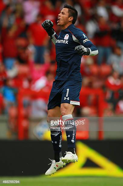 Alfredo Talavera goalkeeper of Toluca celebrates the third goal of his team during the 13th round match between Toluca and Queretaro as part of the...