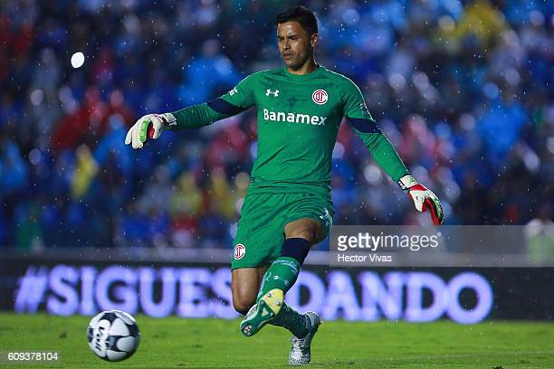Alfredo Talavera goalkeeper of Toluca plays the ball during the 10th round match between Cruz Azul and Toluca as part of the Torneo Apertura 2016...