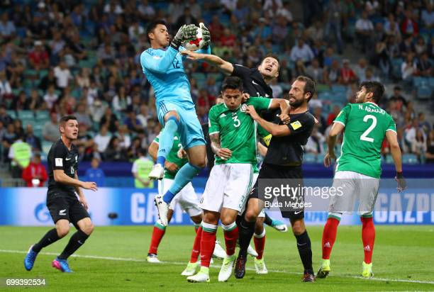 Alfredo Talavera of Mexico collects the ball during the FIFA Confederations Cup Russia 2017 Group A match between Mexico and New Zealand at Fisht...