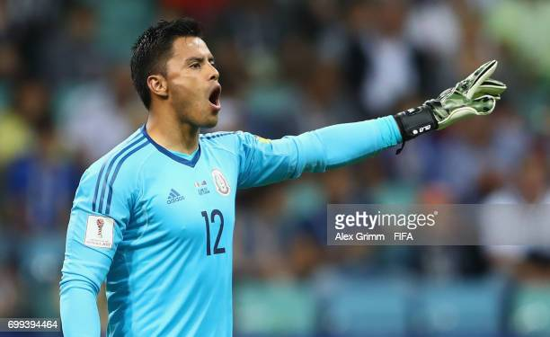 Alfredo Talavera of Mexico gives his team instructions during the FIFA Confederations Cup Russia 2017 Group A match between Mexico and New Zealand at...