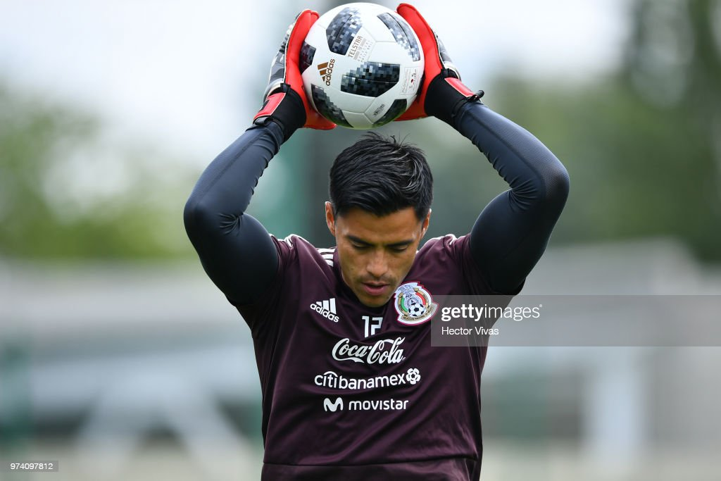 Alfredo Talavera of Mexico, holds a ball during a training session at team training base Novogorsk-Dynamo on June 14, 2018 in Moscow, Russia.