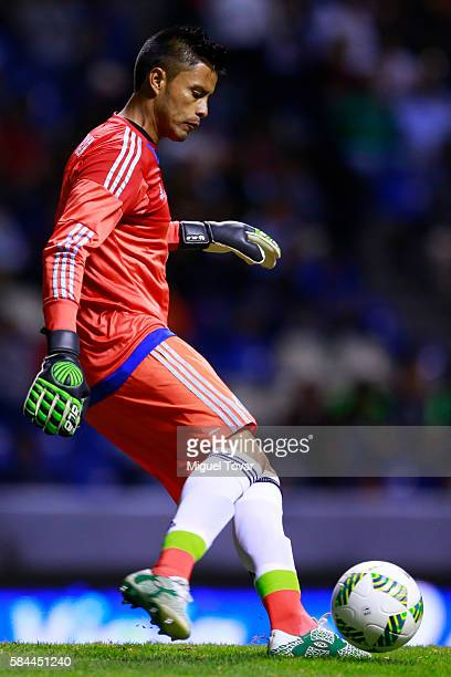 Alfredo Talavera of Mexico kicks the ball during an U23 International Friendly between Mexico and Argentina at Cuauhtemoc Stadium on July 28 2016 in...