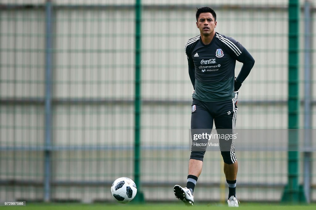 Alfredo Talavera of Mexico, looks on during a training session at team training base Novogorsk-Dynamo on June 13, 2018 in Moscow, Russia.
