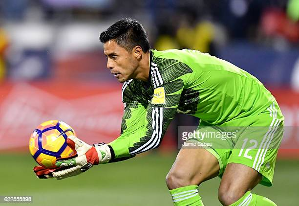 Alfredo Talavera of Mexico makes a save against the United States in the first half during the FIFA 2018 World Cup Qualifier at MAPFRE Stadium on...