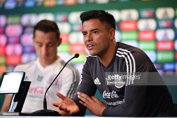 Alfredo Talavera of Mexico speaks during a press conference at Training Base NovogorskDynamo on June 29 2018 in Moscow Russia