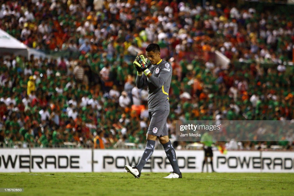 Alfredo Talavera of Toluca celebrates a scored goal against Jaguares during a match between Jaguares and Toluca as part of the Apertura 2013 Liga Bancomer MX at Victor Manuel Reyna Stadium on august 17, 2013 in Tuxtla Gutierrez, Mexico.