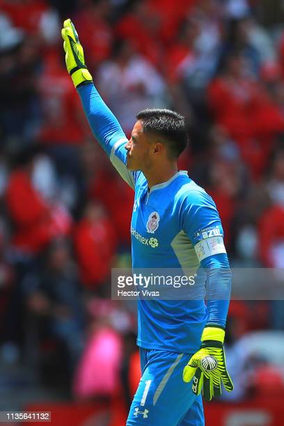 Alfredo Talavera of Toluca celebrates after the fifth goal of his team during the 13th round match between Toluca and Monterrey as part of the Torneo...