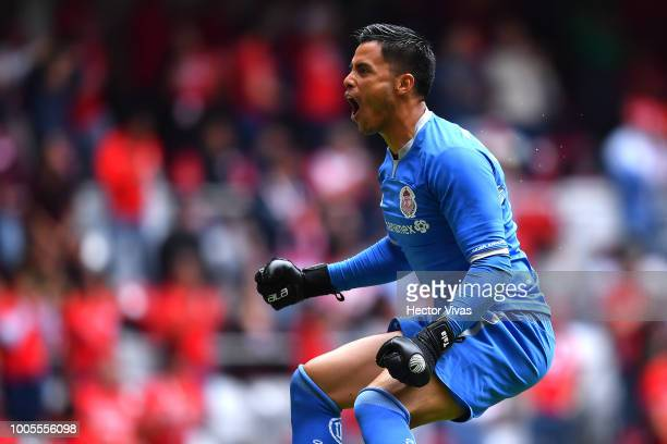 Alfredo Talavera of Toluca celebrates after the first goal of his team during the 1st round match between Toluca and Morelia as part of the Torneo...