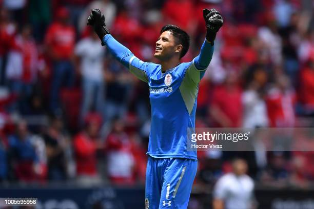 Alfredo Talavera of Toluca celebrates after the second goal of his team during the 1st round match between Toluca and Morelia as part of the Torneo...