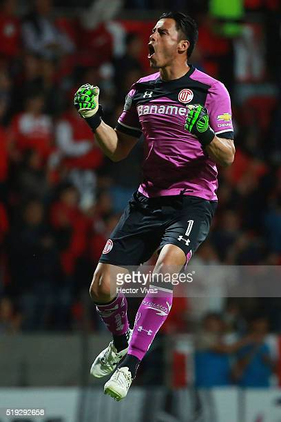 Alfredo Talavera of Toluca celebrates after the second goal of his team during a match between Toluca and LDU Quito as part of the Copa Bridgestone...