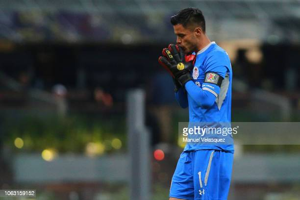 Alfredo Talavera of Toluca celebrates gestures during a 15th round match between Club America and Toluca as part of Torneo Apertura 2018 Liga MX at...