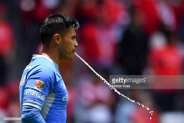 Alfredo Talavera of Toluca spits water during the 1st round match between Toluca and Morelia as part of the Torneo Apertura 2018 Liga MX at Nemesio...