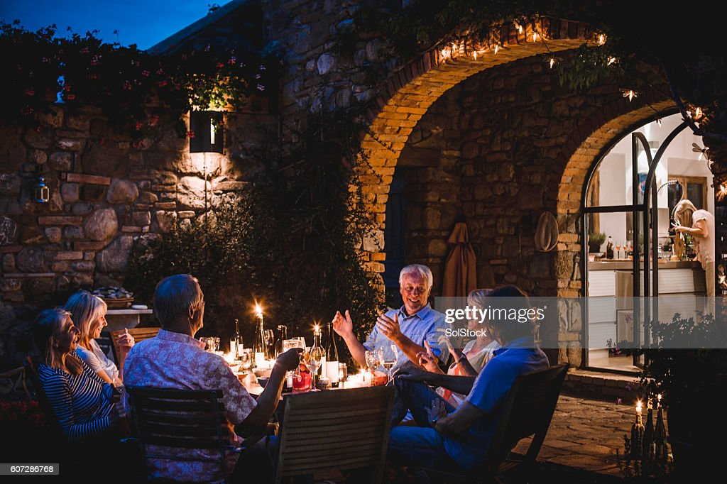 Alfresco Dining in the Evening : Stock Photo
