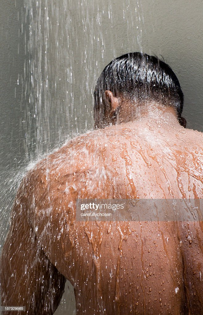 alfresco showering male nude : Stock Photo