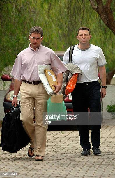 Gerry McCann the father of the fouryearold girl Madeleine McCann returns to the apartment where he and his family are staying in Praia Da Luz...
