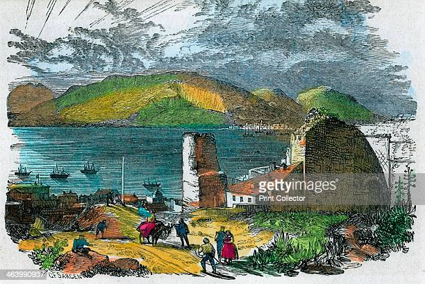 Algeciras Spain and Bay of Gibraltar from the old Moorish Castle Gibraltar c1880